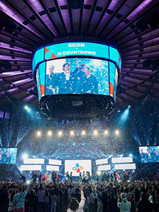 A panorama of the K-pop concert stage at Madison Square Garden